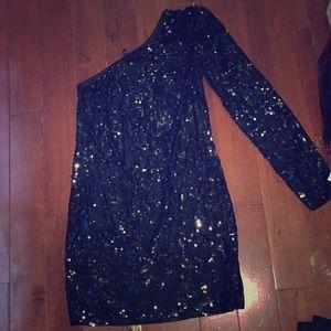 Long sleeve mini black sequin dress EXPRESS
